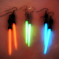 Star Wars Lightsaber - Glow Light Saber - Glow in the Dark - Glowing Lightsabers - Jedi Earrings - Sith Earrings - Nerd - Geekery