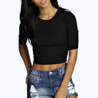 Grace Slinky Rib Short Sleeved Crop Top