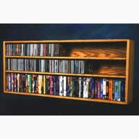 Wood Shed Solid Oak Wall or Shelf Mount for CD and DVD/VHS tape/Book Cabinet