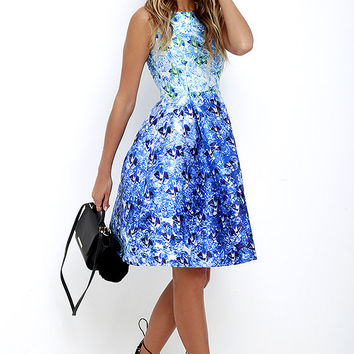Here Comes the Sun Blue Floral Print Midi Dress