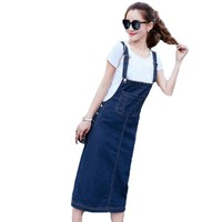 Winter Autumn Women Dungaree Pinafore Denim Jeans Pockets Overalls Vintage Sleeveless Casual Loose Long Bib Dress Kaftan Vestido
