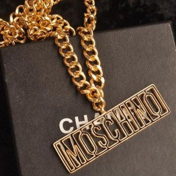 MOSCHINO Fashion Letters Metal Coarse Neck Chain Waist Chain Waist Belt Gold