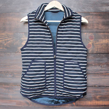 lightweight navy & white stripe quilted puffer vest