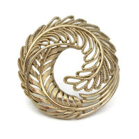 Vintage Gold Tone Filigree Circle Pin Wreath Brooch - Floral Filigree Leaves - Hostess Pin Vintage Jewelry