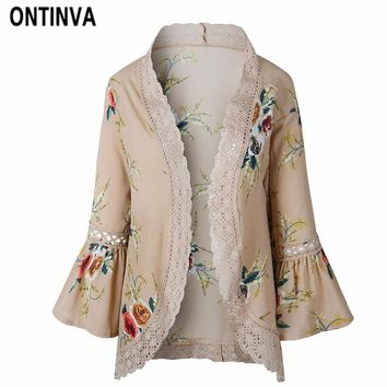 Flare Sleeve Crochet Lace Chiffon Jackets Women Summer Lace Patchwork Kimono Cardigan Floral Print Front Open Outwear Coat 2018