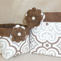 Set of 2 Matching White, Brown and Gray Fabric Baskets With Detachable Fabric Flower Pin