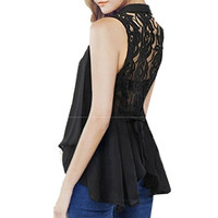 Summer Women Casual Lace V-neck Floral Sleeveless Tops Chiffon Vintage Shirt Blouse Cardigan Vest Plus Size