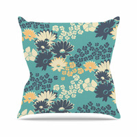 "Zara Martina Mansen ""Teal Color Bouquet"" Green Blue Outdoor Throw Pillow"
