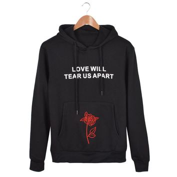 Fashion Women LOVE WILL TEAR US APART Letter Print Hoodie Women 3d Flowers Long Sleeve Hoodie Embroidery Sweatshirts Ladies