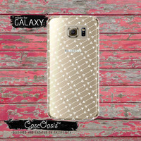 Arrow Pattern White Boho Tumblr Inspired Arrows Bow Clear Galaxy S6 Case and Clear Galaxy S6 Edge Case Custom Samsung Case
