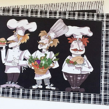 Cat or Dog Bowl Place Mat/Pet Mat/Whimsical Chefs Handmade Black & White Trendy Fun Design Placemat