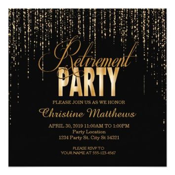 Black and Gold Retirement Party Invitations