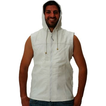 Mens Leather Shirt White Hooded Hoodie Zip up Sleeveless Tee Nappa Sheepskin S - 6XL