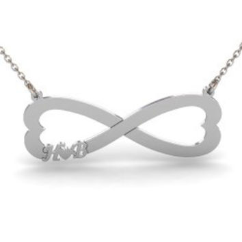 Sterling Silver Infinity Heart Initial Necklace