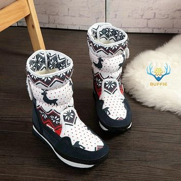 Women winter boots Lady warm shoes with wool insole