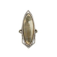Grey Ombre Fossilized Marquis Walrus Ivory Ring with Diamonds