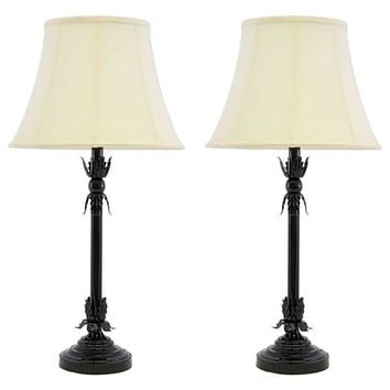 Pre-owned Brass Greek Leaf Lamps in Black Auto Paint - Pair