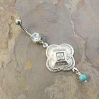 Ornate Floral SIlver and Turquoise Belly Button Jewelry Ring