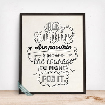 All Your Dreams Are Possible Print, Typography Print, Motivational Print, Inspirational Poster, Typography Art, Mothers Day Gift