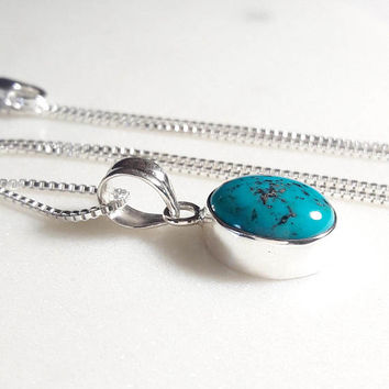 Turquoise Sterling Silver Turquoise Necklace Oval Pendant Bezel Set Sterling Silver Long Necklace Natural Cabochon Pendant Necklace