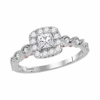 14kt Two-tone White Rose Gold Women's Princess Diamond Solitaire Bellina Bridal Wedding Engagement Ring 3/4 Cttw - FREE Shipping (US/CAN)
