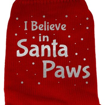 I Believe In Santa Paws Screen Print Knit Pet Sweater Md Red Medium