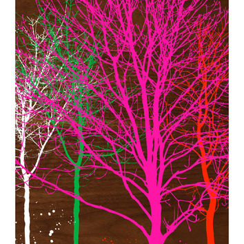 TREES ON WALNUT, Original Art Print, Landscape, Nature, Pink, Orange, Green, Neon