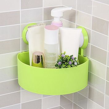 Plastic Suction Cup Bathroom Storage Shower shelf rack wall mounted wall corner holder case Kitchen case sale
