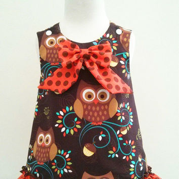 Girls Thanksgiving dress, Owl Dress, Owl A line Dress, Owl Outfit, Baby Owl Dress, Michael Miller Norwegian Woods Owls, Made to Order 0-5T