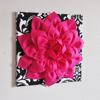 "Hot Pink Wall Hanging -Hot Pink Dahlia on Black and White Damask Print 12 x12"" Canvas Wall Art- Baby Nursery Wall Decor-"