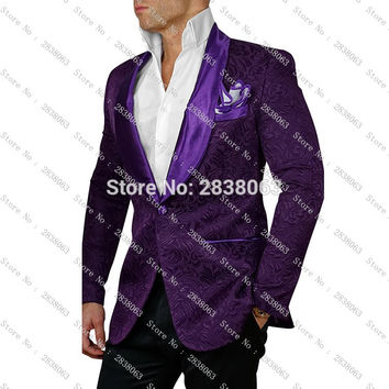 Newest Groomsmen Shawl Lapel Groom Tuxedos Pattern Jacket Solid Pants and Satin Bow tie Men Suits Wedding Best Man Blazer C63