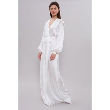Long Silk Bridal Robe F22 with Lace on the Sleeves