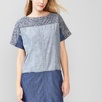 Gap Women Colorblock Indigo Dress