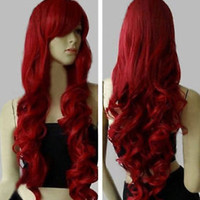 """New Fashion Womens Dark Red Long Curly Anime Cosplay Party Wig 32""""/80cm"""
