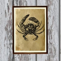 Crab illustration marine art print Old paper home decor 8.3 x 11.7 inches