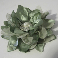 Gorgeous Mint Green Sage Satin and Chiffon Flower Hair Clip Bride Bridesmaids Prom with Pearl and Rhinestone Accent Bridal Hair Accessories