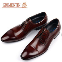 GRIMENTIN fashion luxury mens dress shoes genuine leather italian brown cap toe basic flats