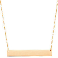 TALIANA // 18 Karat Plated Solid Bar Necklace in Rose Gold, Gold and Silver