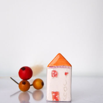 Miniature Clay Art in Orange - JOY - My little Clay House -Unique small ceramic sculptures, Message gift, , Hauswares gift