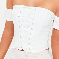 Missguided - White Corset Lace Up Bardot Crop Top