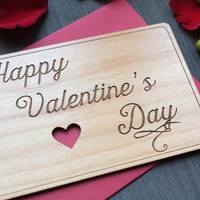 Wood Valentines Day Card - Valentines Day Greeting Card - Typography Cards