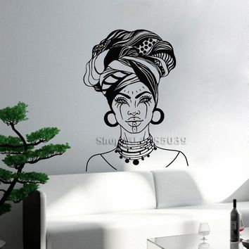 Art African Woman Head Turban Wall Stickers Native Fashion Face Tattoos Sofa Background Wall Mural Decor Adesivo De Parede LC492