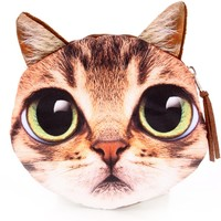Brown Cat Face Coin Purse