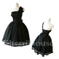 Black One-shoulder Bowknot Strapless Ball Gown Short Bridesmaid Celebrity dress ,Evening Party Prom Dress Homecoming Dress