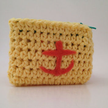 Yellow Crochet Coin Purse with Orange Anchor by Parachet on Etsy