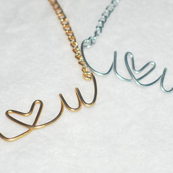 BOGO Buy 1 Gold Get 1 Silver Necklace I LOVE You Wire Script Necklace, Wire Script Jewelry, Custom Jewelry, Personalized Necklace, Vintage