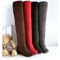 Women's Fashion Women boots winter spring ladies fashion flat bottom boots shoes over the knee high leg suede long boots brand designer (US Size)  is very fit for you = 1946073796