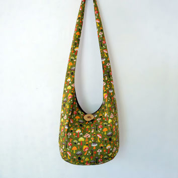 Mushrooms Hobo Bag, Sling Bag, Vintage Inspired Colors, Olive Green, Brown, Hippie Purse, Crossbody Bag