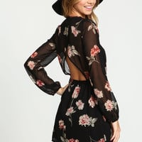 BLACK SILKY FLORAL WRAP DRESS