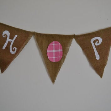 HOP Easter banner white letters with pink egg easter decor easter mantle easter banner